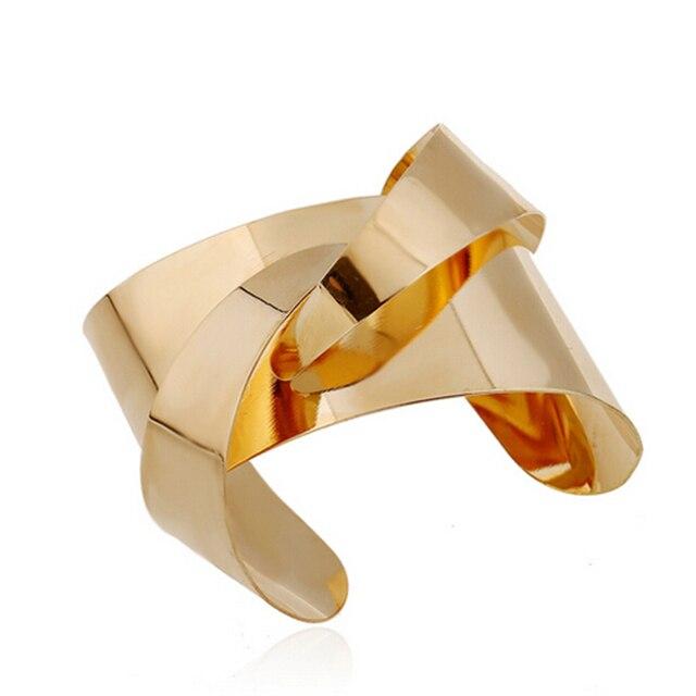 ZOSHI Unique Warp Surface Antient Gold Silver Opened Cuff Bangles Bracelets For Women Fashion Statement Jewelry Cuff Bracelet