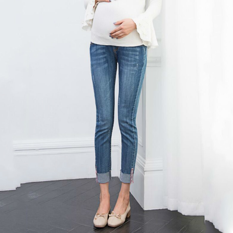 Maternity Clothes Elastic Soft Maternity Jeans Skinny Pregnancy Pants Lovely Trousers For Pregnant Women Spring Summer Clothing image