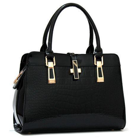 2016 Novo saco mulheres da forma do punk mensageiro saco de marca designer couro envernizado sólido deve saco de moda elegante bolsa de Jacaré