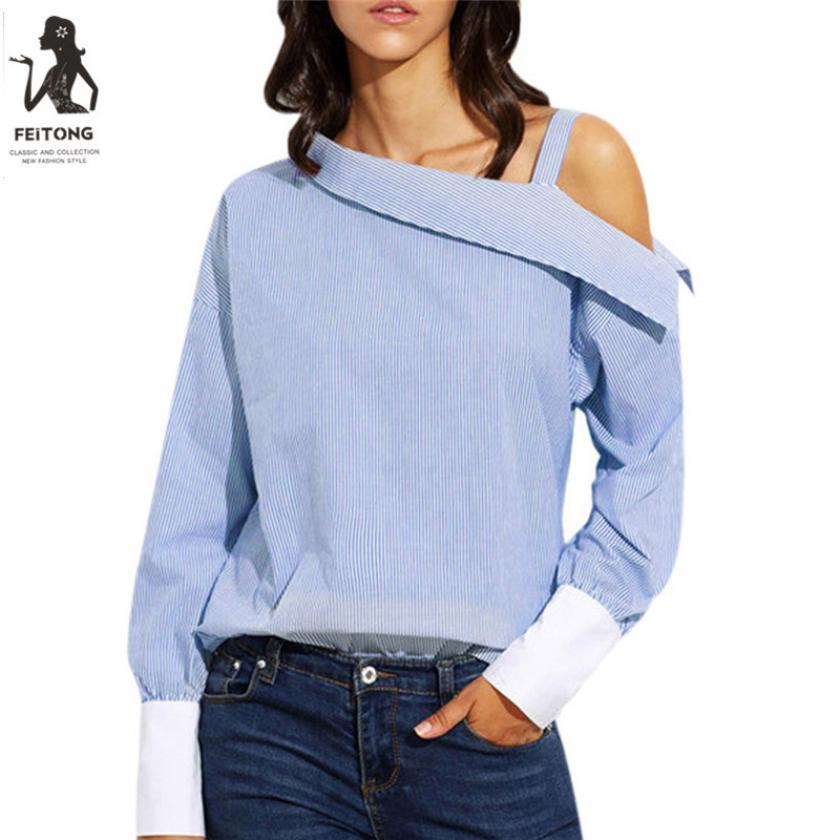SiF/Лидер продаж! 2017 замечательные женщины T рубашка женская голубая в полоску раза Асимметричная плеча с длинным рукавом blusas замечательный П...