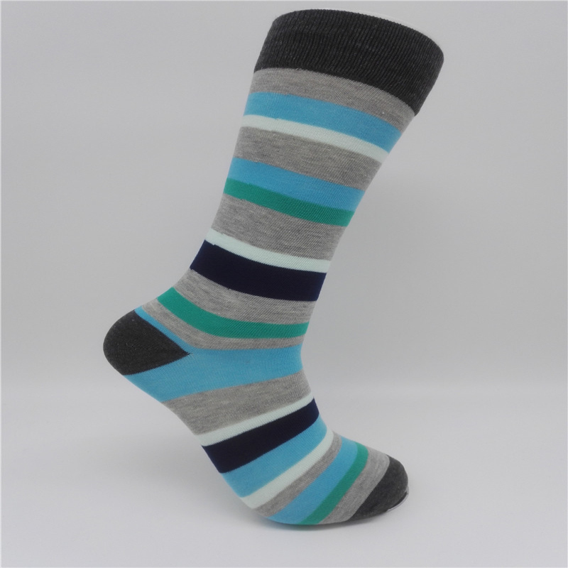 CH0020 2017 Summer Fashion Mens Cotton Socks Colorful Striped Jacquard Art Socks Hit Color Dot Long Happy Socks Mens Dress Sock