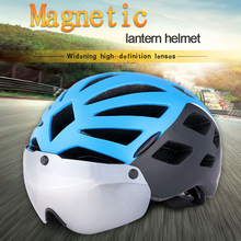 цена на 2017 hot sale Light Helmets Cycling Helmet Glasses Goggles Road Bike Bicycle Helmet With Lens Sunvisor bike helmets full face