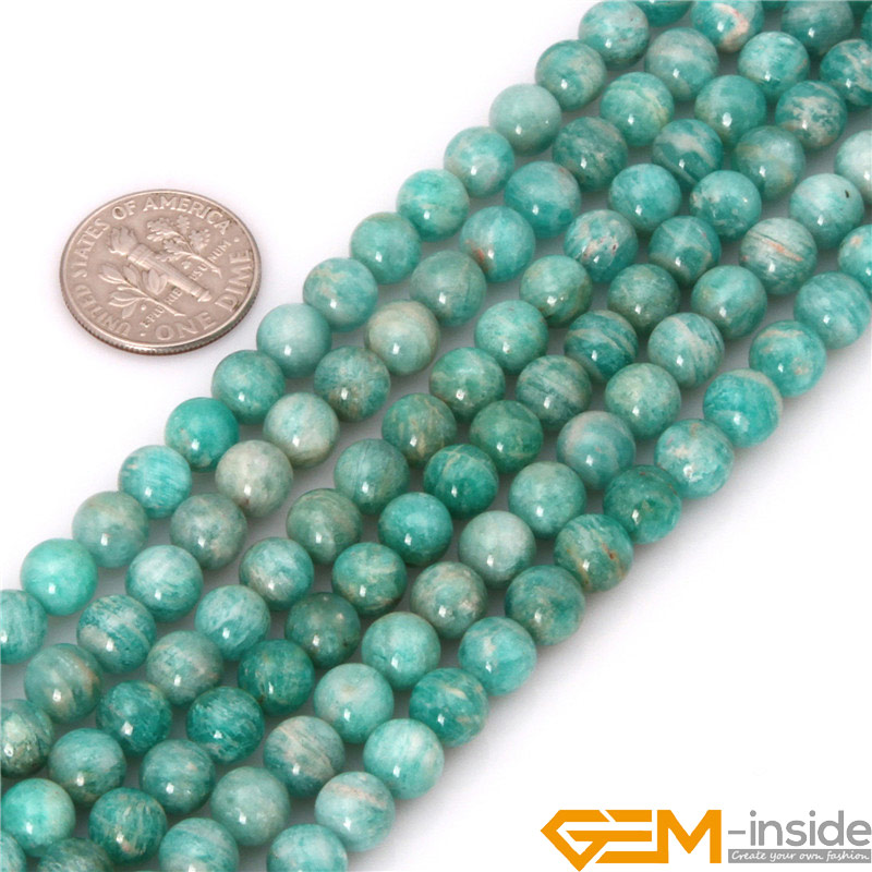 Edelstein-innen Runde Brasilianische Amazonit Perlen Naturstein Perlen DIY Lose Perlen Für Schmuck Machen Für Armband Strang 15 zoll