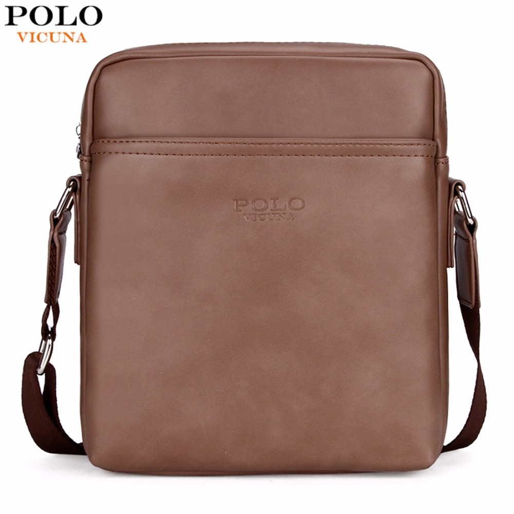 VICUNA POLO Simple Solid Design Business Man Bag Casual Zipper Open Classic Leather Shoulder Bag For Men Messenger Bag New 2017