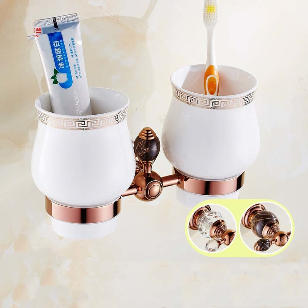 European blue and white porcelain rose gold toothbrush holder ceramic glass mug cup brushed cup hanging cup set lo82144 image