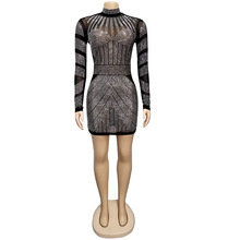 Glitter Rhinestones Mini Dress Women Sheer Mesh Patchwork Long Sleeve Bodycon Elegant Female Mock Neck Party Dresses