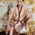 Nacional Do Vento Chinês Ameixa Lacing Robe de Seda Pijamas Quimono Japonês Roupão de Cetim Longo Meia Manga Verão Plus Size Resiliente