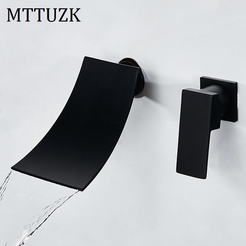 Bathtub Faucet Chrome Black Brass Wall Mount Waterfall Bathroom Faucet Big Square Spout Single Lever Vanity