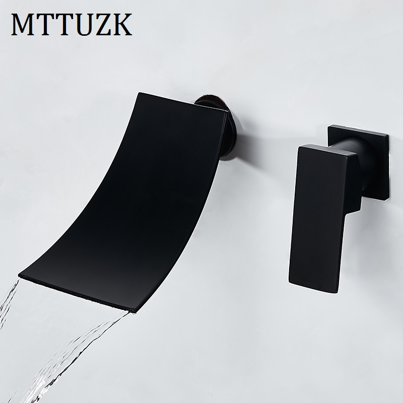 Bathtub Faucet Chrome/Black Brass Wall Mount Waterfall Bathroom Faucet Big Square Spout Single Lever Vanity Sink Mixer Water Tap