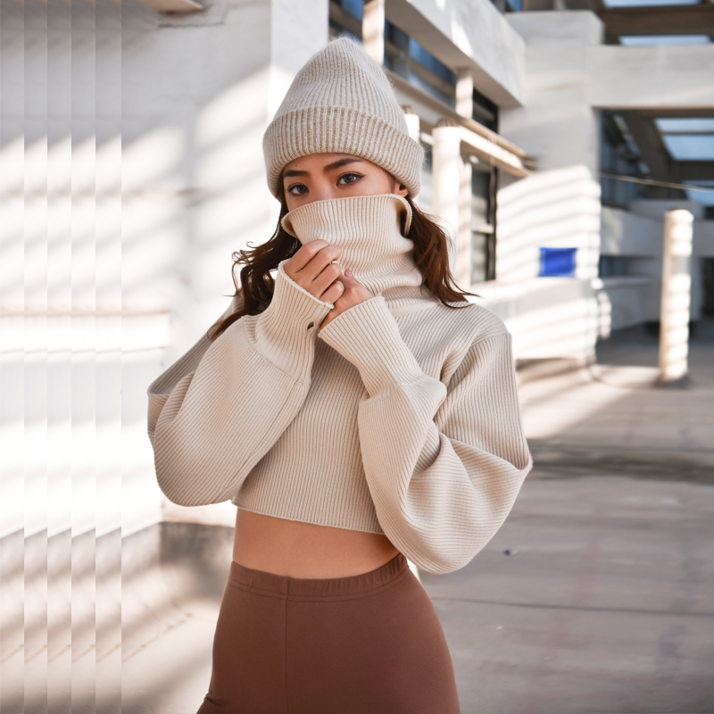 Short Sweaters Pullover Turtleneck Beige Knitted Long-Sleeve Women New Red