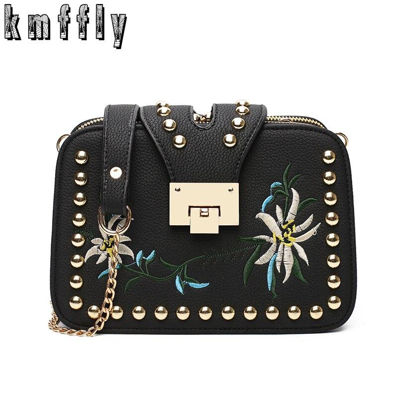 2017 Spring And Summer Rivet Fashion Women Handbag Shoulder Bags Handbags Women Famous Brands High Quality leather Messenger bag