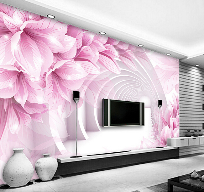 Wholesale 3d papel de parede modern flower 3d wall mural wallpaper for living room TV background 3d photo mural wall fresco 3d mural papel de parede purple romantic flower mural restaurant living room study sofa tv wall bedroom 3d purple wallpaper