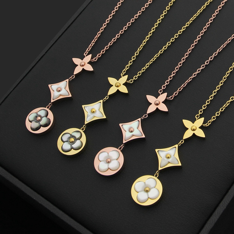 Top quality brand three lover necklace for women stainless steel rose gold white gray shell necklace sweater chain cz stone цена