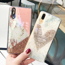 Fashion Epoxy Marble Phone Case For Huawei P20 P30 Pro Lite Mate 20 Pro Gold Powder LOve Heart Soft Back Cover Coque(China)