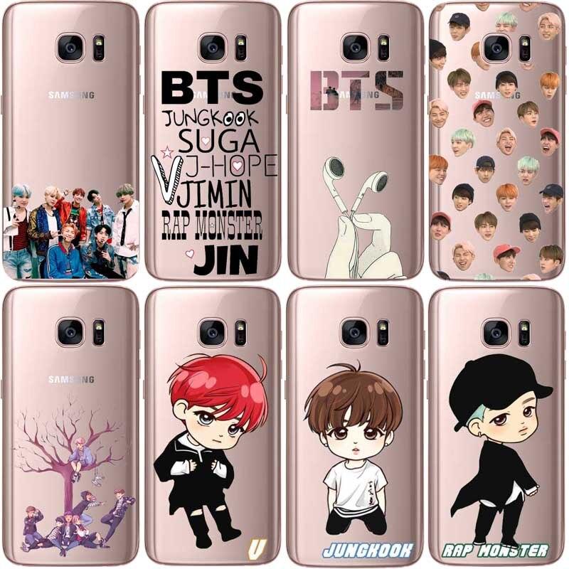 BTS Kpop Bangtan Boys Transparent Hard plastic Case for Samsung Galaxy S5 S5mini S6 S6Edge S7 S7edge S8 plus Cover