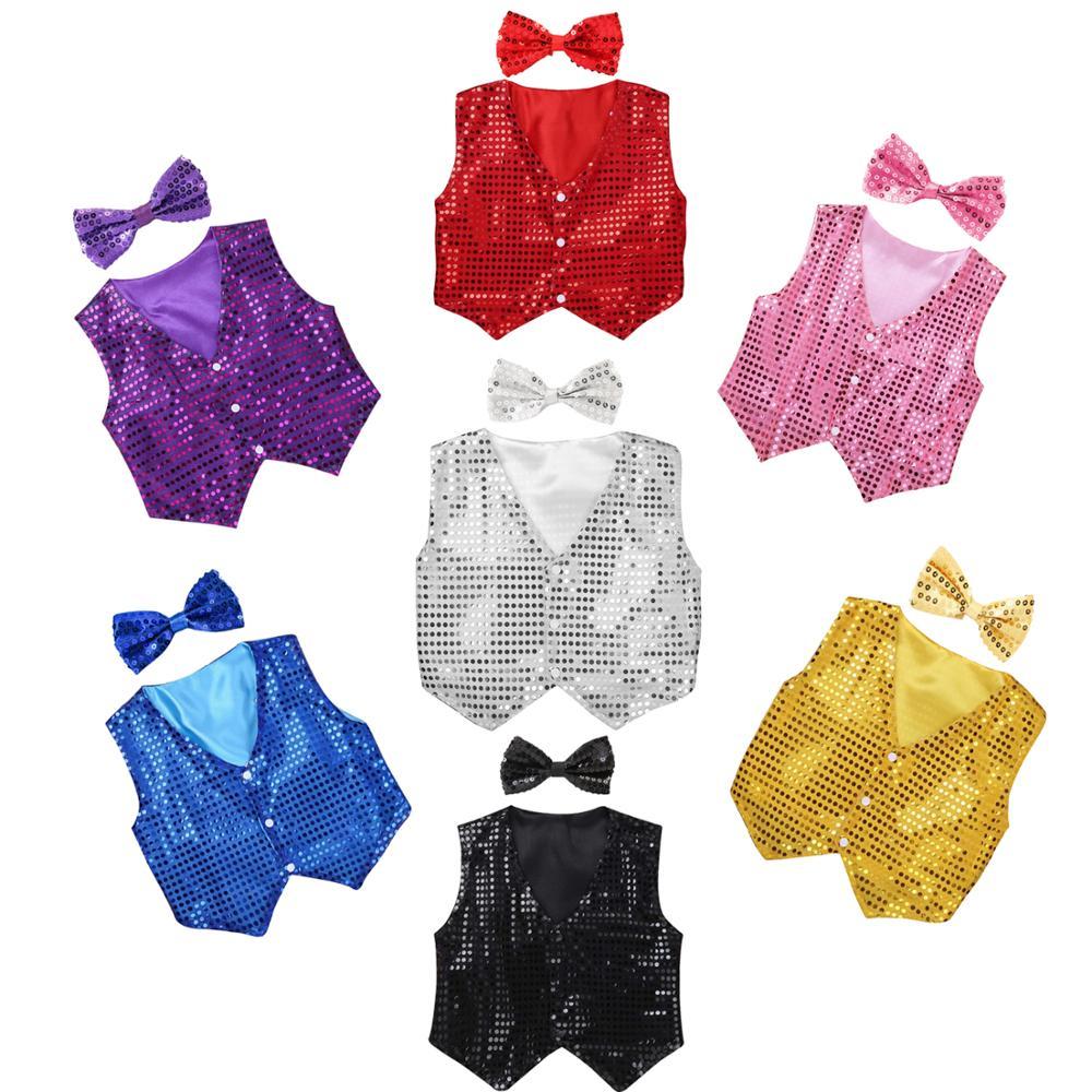 Boys Girls Jazz Dancewear Vest Bowknot set Kids Glitter Clothes Choir Costume Childrens Hip hop Jazz