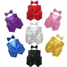 Для мальчиков и девочек джазовая танцевальная одежда жилет Бант Детская блестящая одежда костюм для хора детская хип-хоп джаз танец блестками жилет