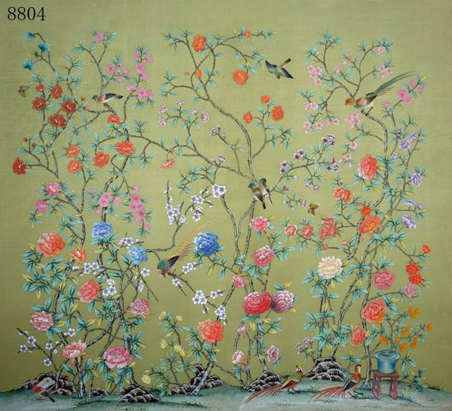 Hand Painted Wallpaper Silk Wih Rice Paper Back