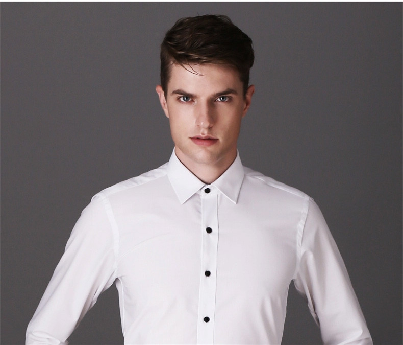 DAVYDAISY High Quality Men Shirt Long Sleeve Twill Solid Formal Business Shirt Brand Man Dress Shirts DS085 6