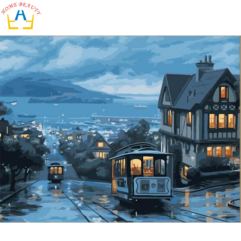 №Oil paint painting by numbers diy picture coloring drawing on ...