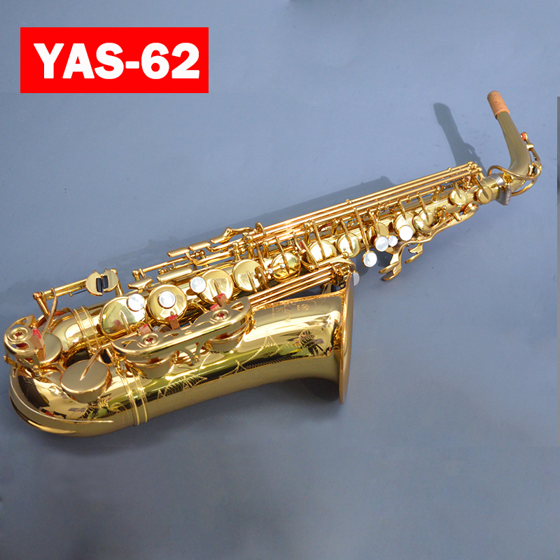 Brand NEW YAS-62 Custom Sassofono Contralto Elettroforesi Oro Chiave Professionale Super Gioco Bocchino per Sax Con Il Caso Libero di Trasporto Libero