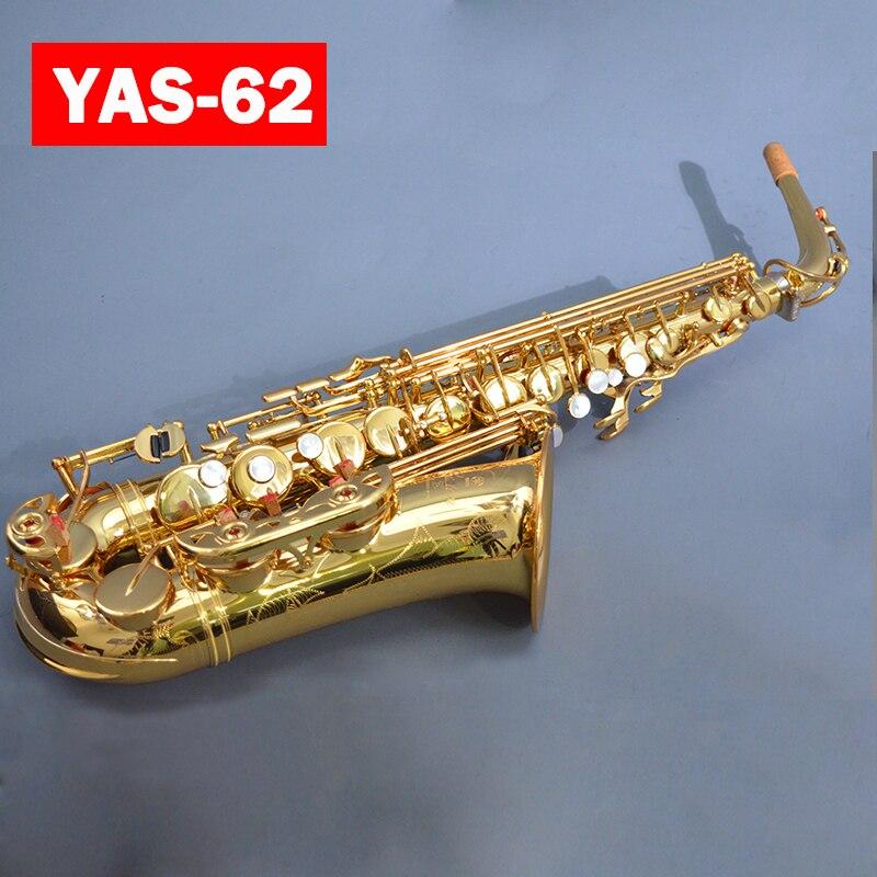 Flambant neuf YAS-62 Personnalisé Alto Saxophone Électrophorèse Or Touche Professionnelle Super Jouer embout de Saxophone Avec Le Cas Livraison Gratuite