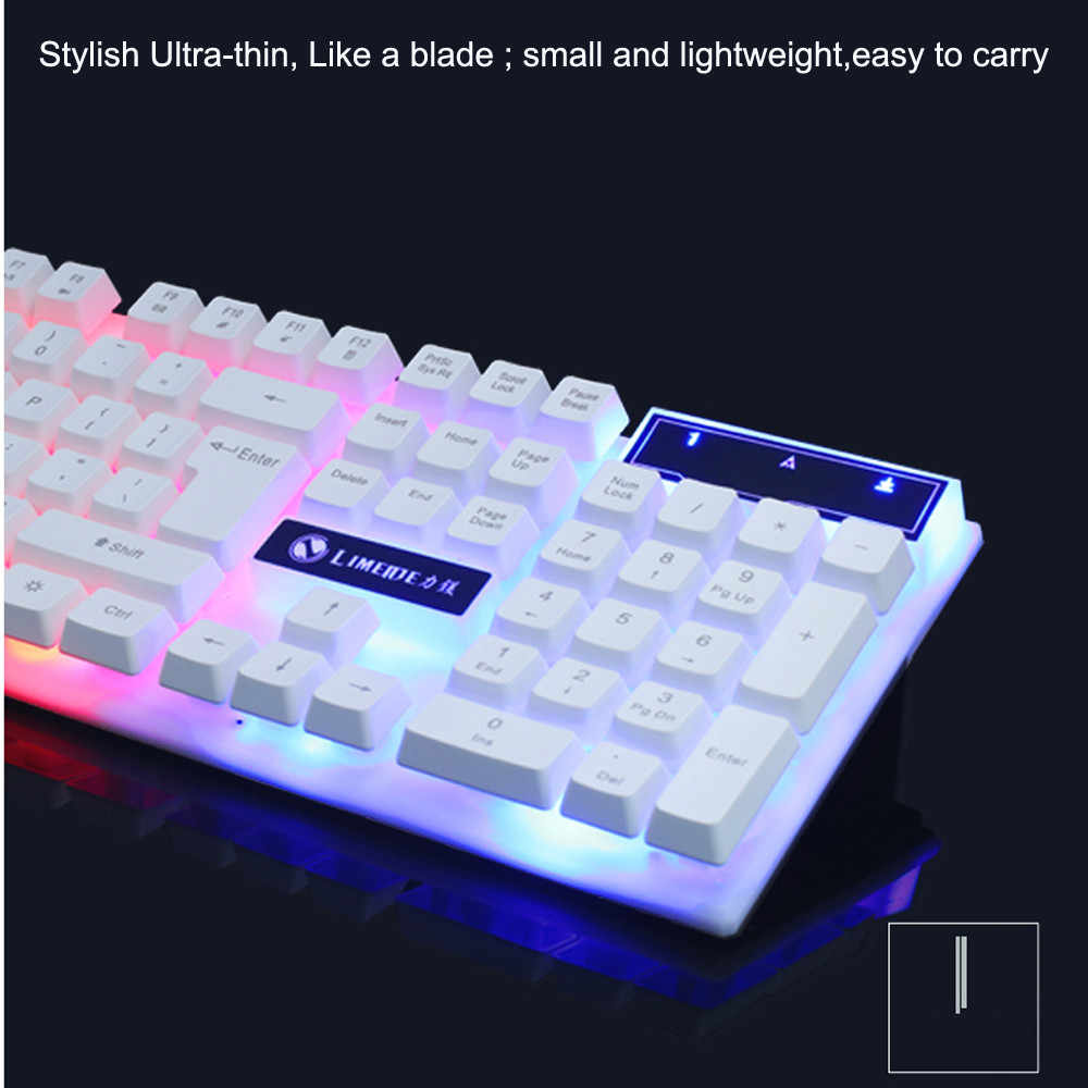 Игровая клавиатура, цветной светодиодный, с подсветкой, USB, проводная, ПК, радуга, противоскользящая и водонепроницаемая, дизайн, игровая клавиатура, мышь, набор