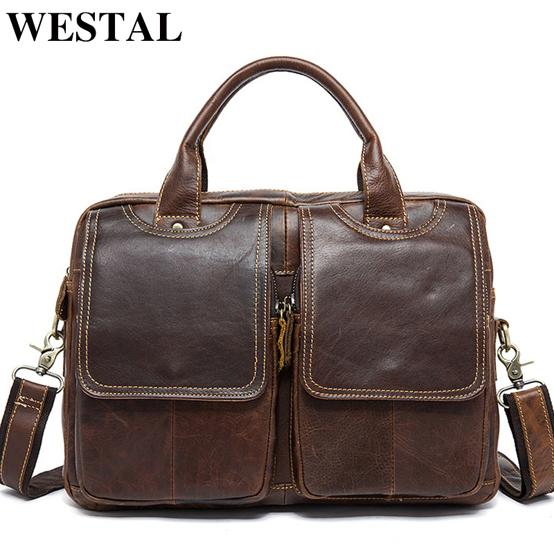 WESTAL Genuine Leather Men Bag Men Messenger Shoulder Bags Men's Crossbody Bag Men's Briefcase Leather Laptop Bags 14'' Handbag