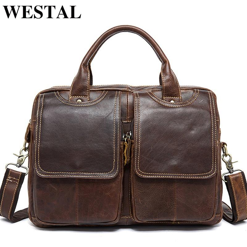 WESTAL Men's Bag Genuine Leather Men's Briefcases Laptop Bag Leather Totes for Document Office Bags for Men Messenger Bags 8002