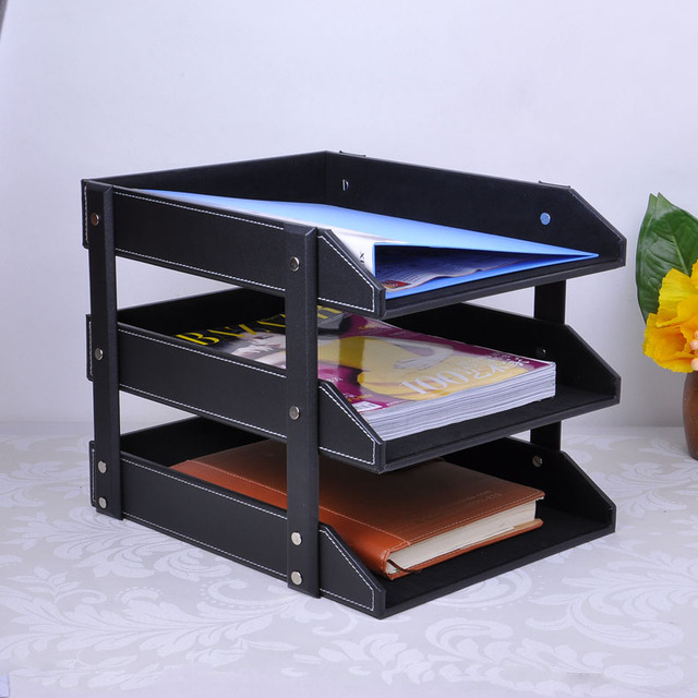 3 Layer Detachable Office Ooden Leather Desk Filing Doents Tray Storage Box Organizer Magazine Rack
