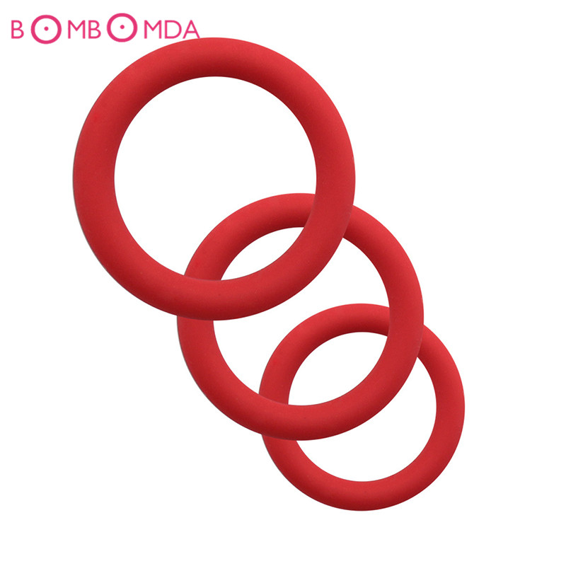 3pcs Tire Type Silicone Delay Ejaculation Cock Rings Black Red Blue Sex Toys Products For Men Penis Rings Sex Cockring For Gay