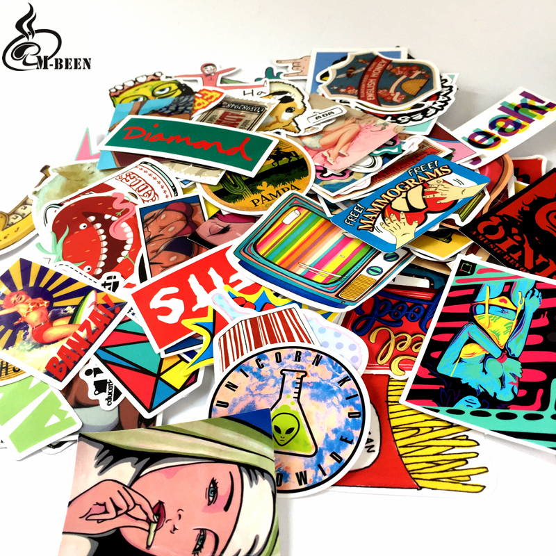100pcs/lot Not Repeating Western Style Cartoon Stickers For Suitcase Laptop Wall Waterproof PVC Decals Gifts