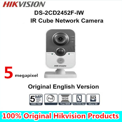 in stock DHL Free shipping with DHL English Version DS-2CD2452F-IW 5MP IR Cube Network Camera free shipping in stock new arrival english version ds 2cd2142fwd iws 4mp wdr fixed dome with wifi network camera