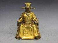 Китай Чистая латунь Медь судья династии Сун BaoGong Бао Чжэн статуя Будды