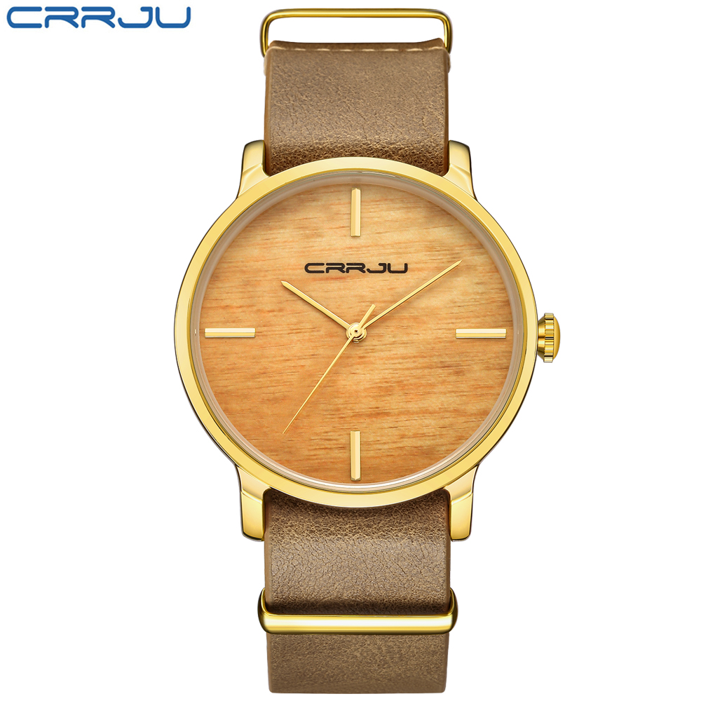 CRRJU Top Brand Simulation Wooden Women Quartz Watches Men Women Wood Quartz Watch Simple Style Quartz Watches Round With Gift