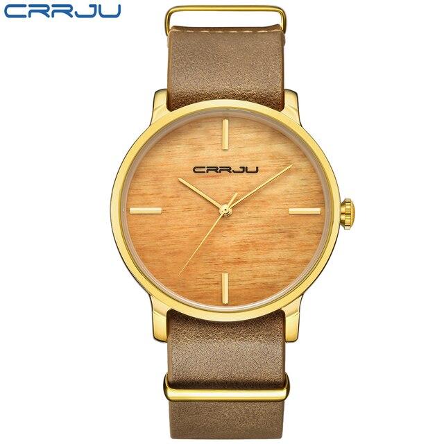 CRRJU Top Brand Simulation Wooden Women Quartz Watches Men Women Wood Quartz Wat