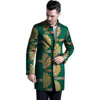 Dashiki Overcoat For Men African Print Long Trench Jacket Business Men Coat Print Ankara Wear Custom
