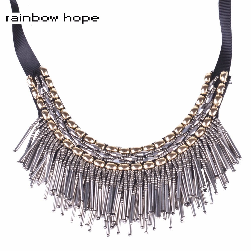 Trendy handmade tassel choker necklaces women hot sale ethnic Statement jewelry Vintage Bohemian tassel chocker collar Necklace