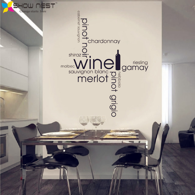 Wine Quotes Cloud Kitchen Dining Montage Wall Sticker Art Decal Vinyl Home  Decor Kitchen Wall Mural Design Drinking Sticker-in Wall Stickers from Home  ...