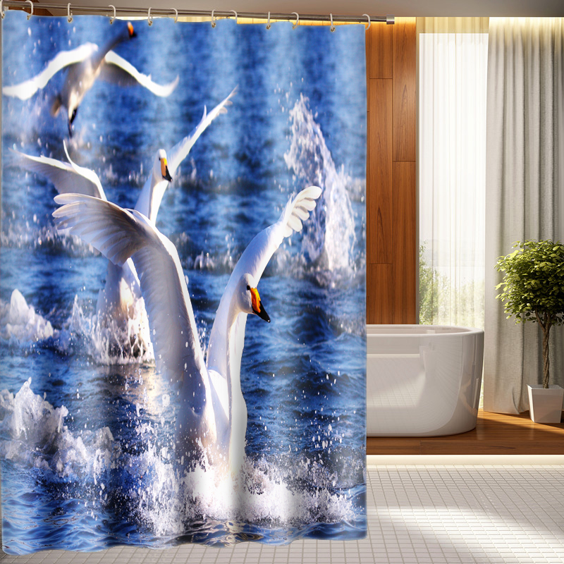 3D View Cartoon Swan Lovers Shower Curtain Pattern Bathroom Waterproof Washable Bath Customizable In Curtains From Home Garden On