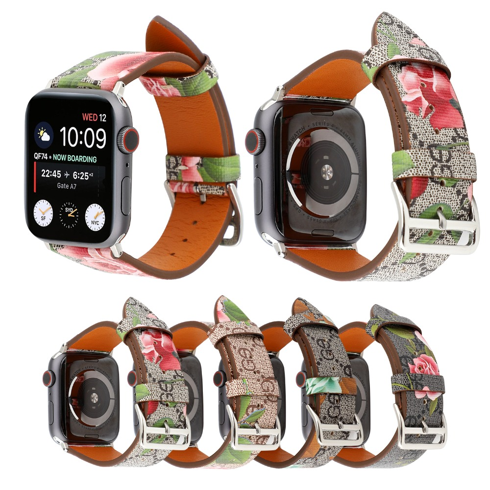 Fashion Luxury leather watch band for Apple watch series 4 3 2 1 Italy leather bracelet