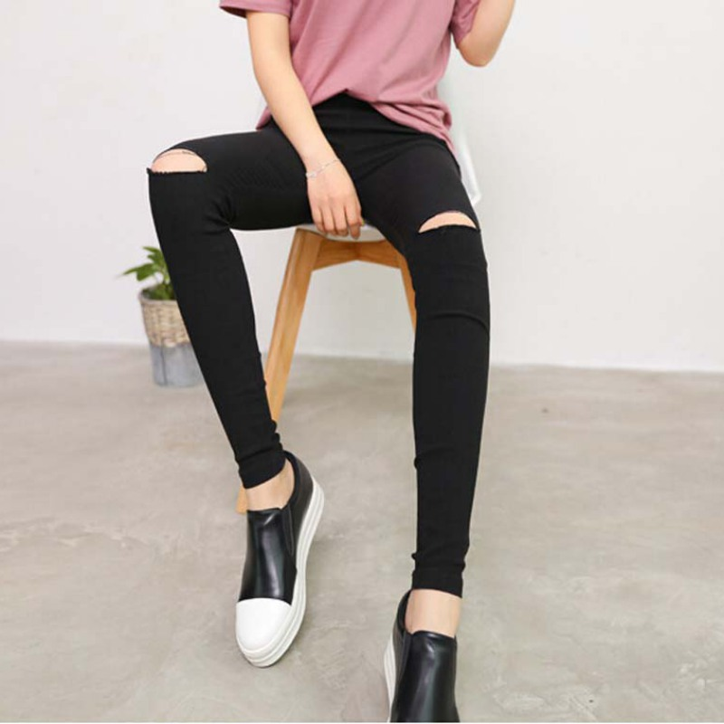 New 2018 Fashion Womens Knee Ripped Hole Pencil Pants Skinny Thin Stretch Leggings Trousers Black Pantalon Femme Plus Size H8