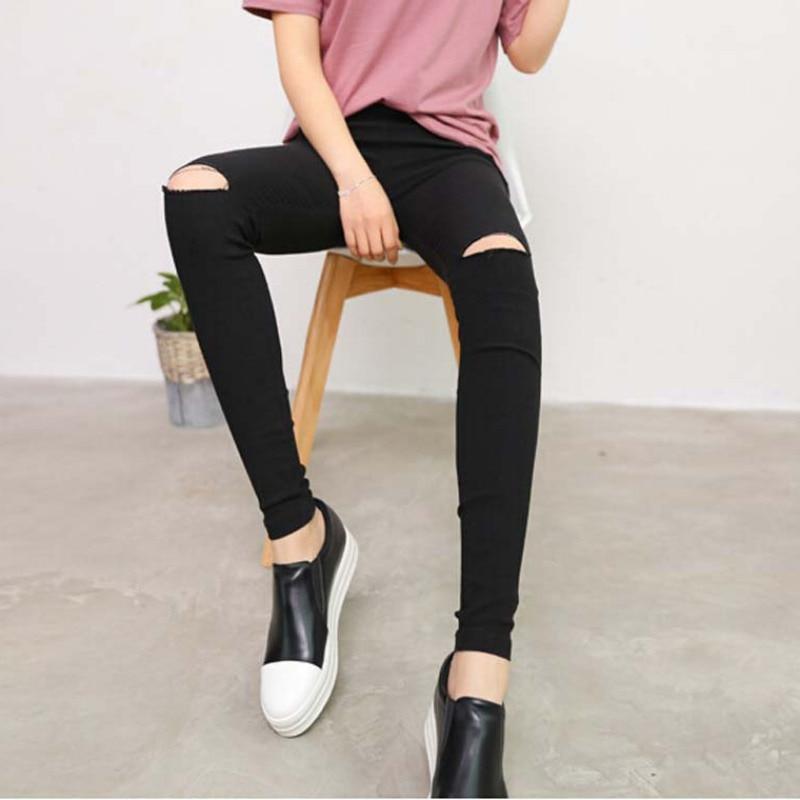 New 2018 Fashion Womens Knee Ripped Hole Pencil Pants Skinny Thin Stretch Leggings Trousers Black Pantalon Femme Plus Size H8