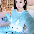 Зима Pijamas Mujer Утолщенной Спальный Пингвин Ватки Коралла Пижамы Главная Обстановка Костюм Коралловых Бархатной Домашней Одежды Для Отдыха