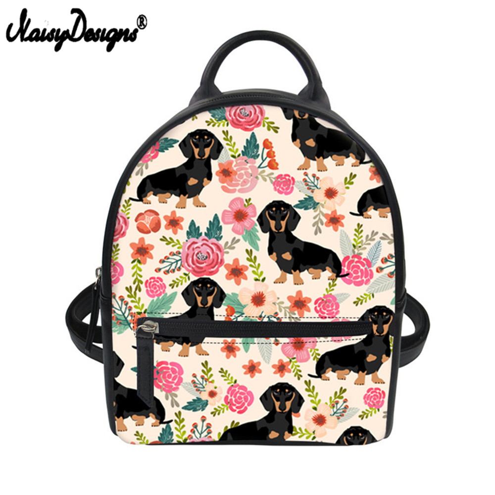 Noisydesigns Women Pu Leather Backpacks For Female Doxie Dog Dachshund Design Small Daypack Girls Kids Mini Shoulder Bag Pack