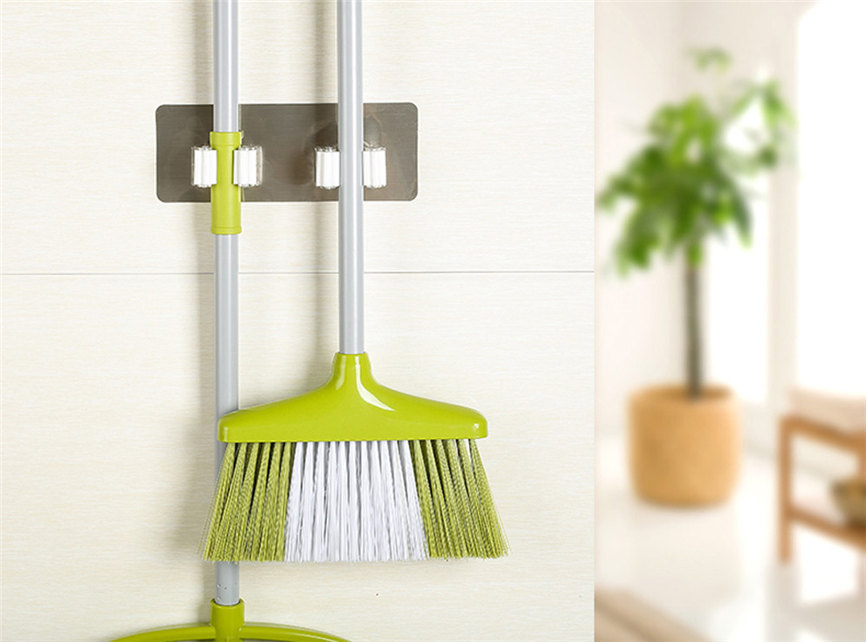 Wall Mounted Mop Broom Holder With Hanging Pipe Hooks Used As Kitchen Tool 9