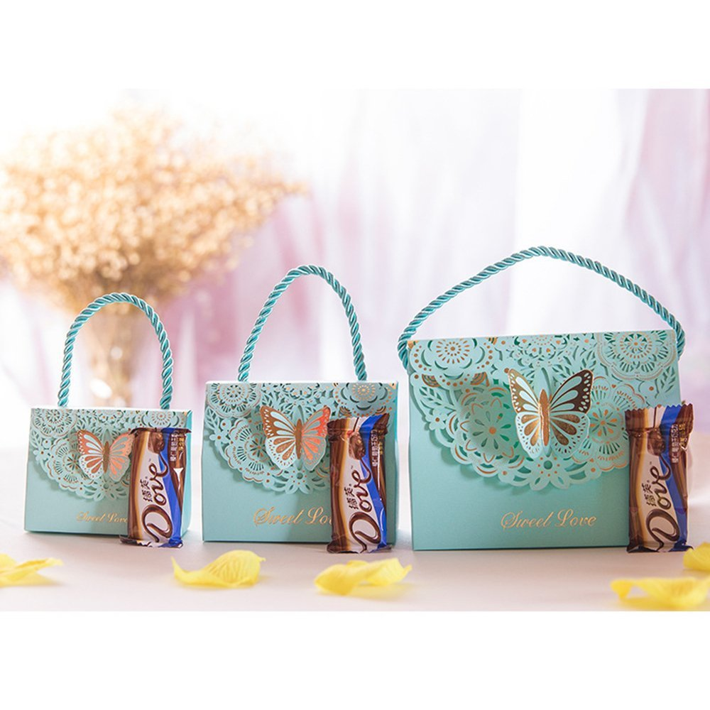 20 Hollow Carved Fold Butterfly Pcs Wedding Candy Box Creative  Wedding Sweet Gift Bag Candy Box Party Birthday Favor Supplies