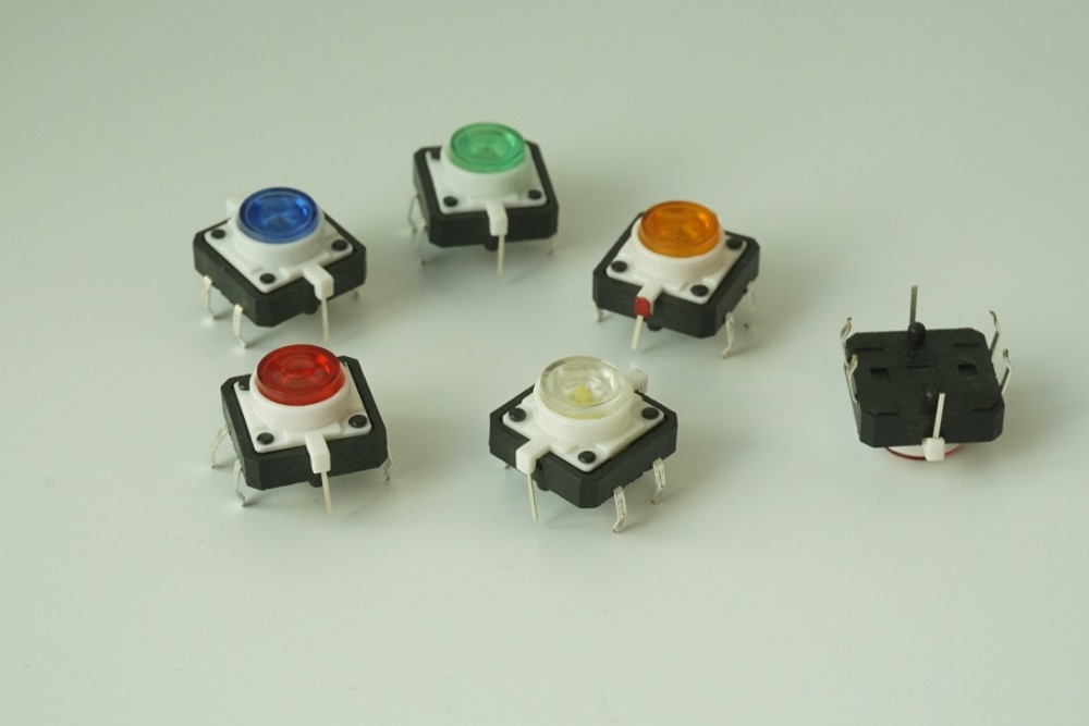 100pcs Illuminated Tact Switch 12x12x7.3 mm Green Red Yellow Blue White LED Reset button Normal Open vertical Through Hole PCB 6pcs 22mm momentary push button switch red green blue yellow black white normal open normal close