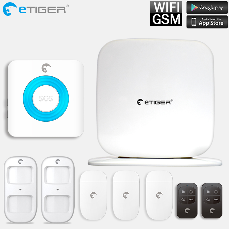 Etiger IOS Android APP Remote Control WiFi GSM Wireless 433mhz PIR Home Security Alarm System For Home Security new dc5v wifi ibox2 mi light wireless controller compatible with ios andriod system wireless app control for cw ww rgb bulb
