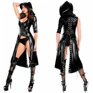 Женский костюм кошки из ПВХ, черное платье из лакированной кожи, эротический костюм из латекса со шнуровкой, Клубное платье, 2018
